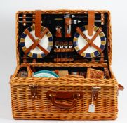 A 'Picnic Time' wicker picnic hamper, fitted for four persons, a small wicker hamper,