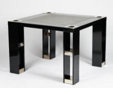 A contemporary black lacquered games table, the square top with grey felt inset and nickel accents,
