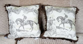 A pair of toile de jouy cushions, printed with vintage horse racing 'Gladiator' scenes,