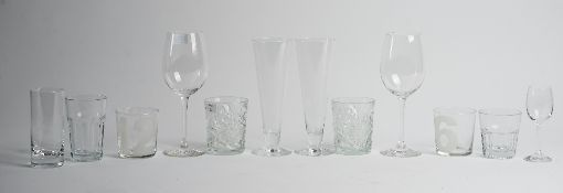 A collection of glassware including a decanter and Schott Zwiesel glasses (qty).