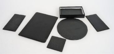 Natural Slate square coasters and double coasters, by The Just Slate Company,
