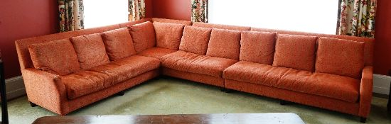A contemporary sectional sofa,