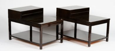 A pair of modernist end tables, with polished chocolate finish in nickel detail,