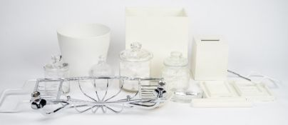 A chromium plated bath rack, with candle and soap holder and various bathroom accessories (qty).