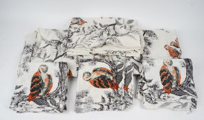 A set of twenty two napkins and three tablecloths printed with owls (25).