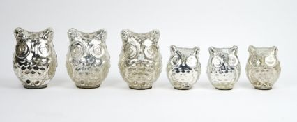 A collection of six mercurial glass figures of owls, and a Robinson vase by Astier de Villatte,
