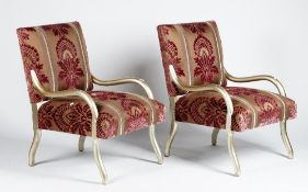 A pair of Rockefeller chairs, mid century, with silvered frames,
