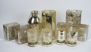 Five West Elm mercurial glass rectangular vases, four cylindrical similar,