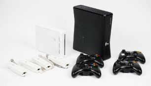 An X Box 360 and accessories and a collection of games,