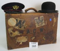 A good quality antique leather suitcase