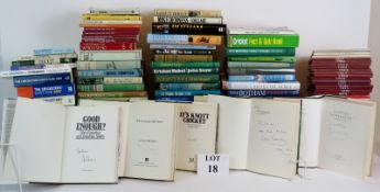 A huge library of over 100 books on cric