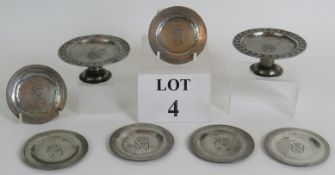Two small engraved pewter comports and s