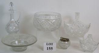 A Harrods cut glass Claret jug, a large