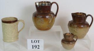Three Victorian Stoneware harvest jugs,