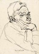 Franz Schulze20. Jh.Bildnis Conrad Felixmüller1919Tuschfeder auf Papier51 x 37,5 cmbedeutende