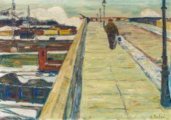 Arnold Balwé1898–1983Brücke über die Schienen II1931Öl auf Leinwand70 x 100 cm