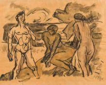 Max Pechstein1881–1955Badende am Strand, rückseitig Paar im Café1911Tuschfeder und Tuschpinsel auf