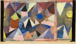 Paul Klee1879–1940Berglandschaft1918Aquarell und Gouache auf Leinwand, links und rechts mit