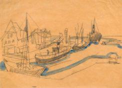 Ernst Ludwig Kirchner1880–1938Hafen von Burgstaaken, Fehmarn1912schwarzer Zimmermanns-Bleistift