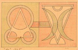Auguste Herbin1882–1960KompositionTusche und Farbkreide auf Papier19 x 29 cm(Lichtmass)Galerie