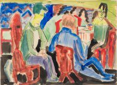 Ernst Ludwig Kirchner1880–1938UnterhaltungAquarell und Tuschpinsel über Kohle auf festem Papier35