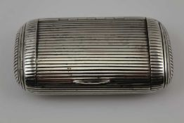 A GEORGE III SILVER CUSHION SHAPED SNUFF BOX all over ribbed exterior & hinged lid, gilded interior,