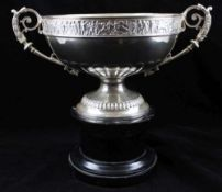 ELKINGTON & CO. LTD A LATE 19TH CENTURY SILVER TWO-HANDLED TROPHY BOWL, cast scroll handles, the
