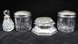 JAMES DIXON & SONS LTD AN EDWARDIAN SILVER INKWELL of octagonal form with hinged cover, Sheffield
