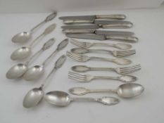 A PART SET OF RUSSIAN SILVER PLATED FLATWARE & CUTLERY, having shaped terminals decorated with