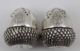 A PAIR OF VICTORIAN SILVER ACORN FORM CONDIMENTS, Sheffield 1886, combined weight; 51g