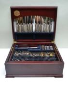 A BUTLER OF SHEFFIELD COMPREHENSIVE MAHOGANY CANTEEN CASE OF SILVER PLATED CUTLERY, comprising; 12