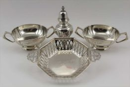WILLIAM HUTTON & SONS LTD A PAIR OF EDWARDIAN SILVER TWO-HANDLED BONBON DISHES, Birmingham 1908, one