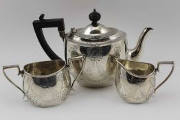 A LATE 19TH CENTURY MATCHED SILVER BACHELOR TEASET by CHARLES BOYTON, the teapot London 1893, the