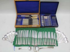 A COMPOSITE SILVER-PLATED COLLECTION OF KINGS PATTERN CUTLERY, comprising an oak canteen by