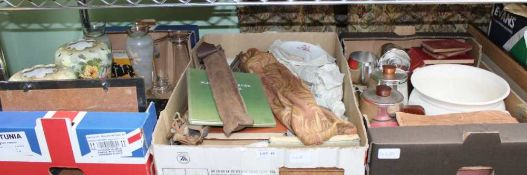 THREE BOXES CONTAINING A WIDE SELECTION OF USEFUL & COLLECTABLE DOMESTIC ITEMS