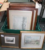 A CRATE CONTAINING TEN VARIOUS GLAZED & FRAMED PRINTS of Old Liverpool