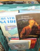 A CRATE CONTAINING A SELECTION OF SHEET MUSIC, books on Stratford Upon Avon and the Theatre