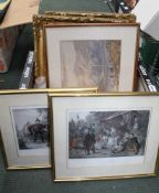 A CRATE CONTAINING A SELECTION OF DECORATIVE PICTURES & PRINTS
