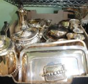 A BOX CONTAINING A SELECTION OF METALWARES the majority silver-plated and for the table top