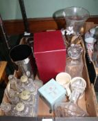 A BOX CONTAINING GLASS DECANTERS & STOPPERS, an early 20th century six bottle table cruet, etc.