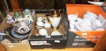 THREE BOXES OF DOMESTIC POTTERY & PORCELAIN to include; part tea & coffee services, masons green