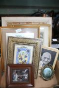 A FRAMED CORK COLLAGE together with sundry other decorative pictures & prints, and a hardback copy