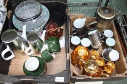 TWO BOXES CONTAINING A SELECTION OF DOMESTIC POTTERY PORCELAIN AND GLASSWARE the majority for the