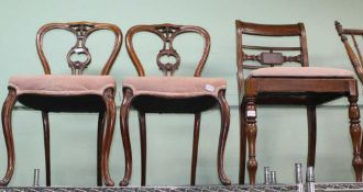 A PAIR OF PROBABLE FRENCH WALNUT FANCY BACKED DINING CHAIRS with overstuffed seat pads and