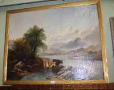 A LARGE AMATEUR OIL ON CANVAS STUDY OF A LAKESIDE SCENE housed within a gilded fillet