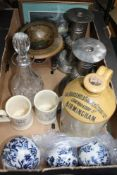A BOX FULL OF USEFUL DOMESTIC ITEMS VARIOUS to include; candlesticks, commemorative mugs etc.