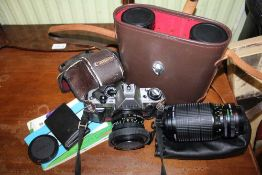 A SELECTION OF OPTICAL EQUIPMENT, to include; camera, binoculars etc.