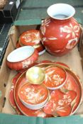 A BOX CONTAINING A LARGE SELECTION OF ORANGE FLORAL DECORATED BAVARIAN PORCELAIN to include pots,