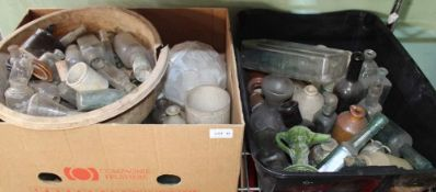 A BOX, A CRATE, AND A BOWL CONTAINING A SELECTION OF VINTAGE POTS & BOTTLES