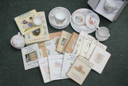 A BOX CONTAINING A SELECTION OF BEATRIX POTTER BRANDED ITEMS